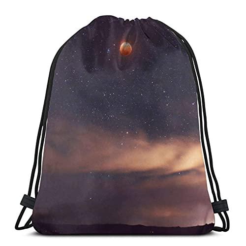 Super Blue Blood Moon Variety Face Towel Drawstring Backpack Sport Bag Gym Sack