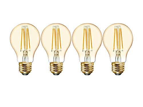 GE GE Vintage Amber Glass 60W Replacement LED Light Bulbs, 4-Pack, Warm Candle, Dimmable Vintage Light Bulb, Medium Base