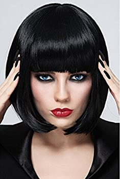 Bopocoko Black Bob Wigs for Women 12   Short Black Hair Wig with Bangs Natural Fashion Synthetic Wig Cute Colored Wigs for Daily Party Cosplay Halloween BU027BK