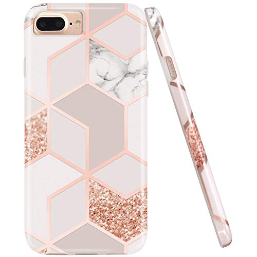 JAHOLAN iPhone 7 Plus Hülle Handyhülle TPU Silikon Weiche Schlank Schutzhülle Handytasche Flexibel Case Handy Hülle für iPhone 7 Plus/8 Plus/6S 6 Plus - Marmor Bling Glitter Sparkle Gold
