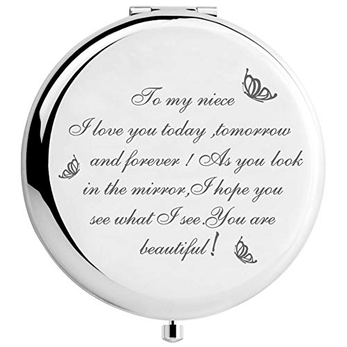 Warehouse No.9 Niece Gifts from Aunt Uncle, Travel Pocket Cosmetic Engraved Compact Makeup Mirror for Niece Birthday Christmas Graduation Cosmetic Mirror Gifts (Sliver)