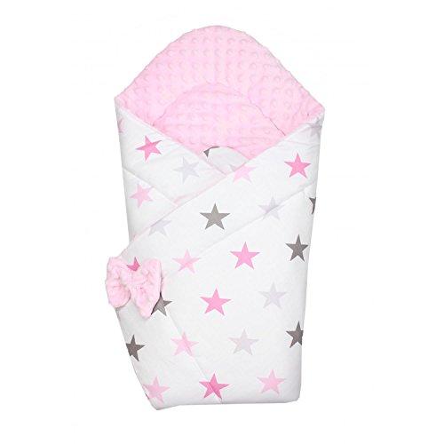 TupTam Manta Envolvente Arrullo Acolchado para Bebé, Estrellas Rosa, c. 75 x 75 cm