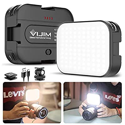 VIJIM VL100C Bi-Color LED Video Light on Camera with Adjustable Stand, Mini Rechargeable 2000mAh LED Camera Lights,CRI95+ Dimmable 2500-6500K Ultra Bright Photo and Video Lighting,LED Fill Lamp