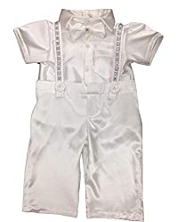 White Christening 2 Pieces Short Pants Suits with Embroidery Rhinestones