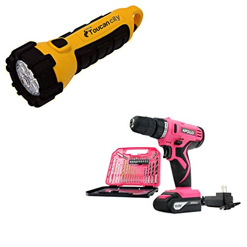 Toucan City LED Flashlight and Apollo Tools 10.8-Volt Lithium-Ion 3/8 in. Cordless Drill with Accessory Set (30-Piece) DT4937P