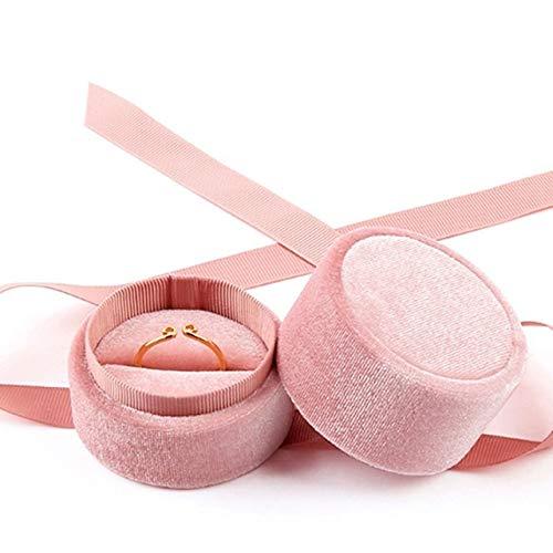 pojhf GYDSSH Pink Velvet Ronda Bowknot de la joyería Caja de Pulsera de los Pendientes del Collar del Anillo de Compromiso de la Boda joyería Embalaje Display 1Pcs (Color : Big Ring Box)