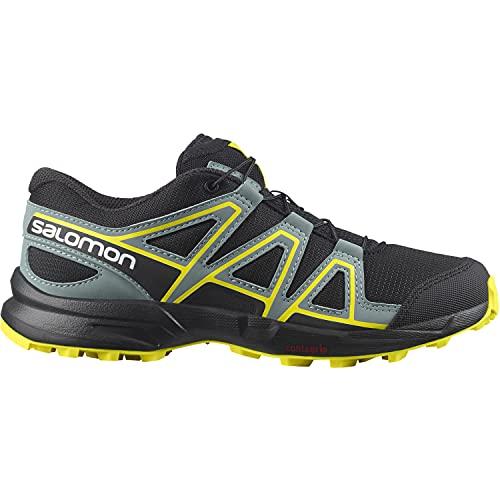Salomon Speedcross niños Zapatos de trail running, Negro (Black/Black/Evening Primrose), 33 EU