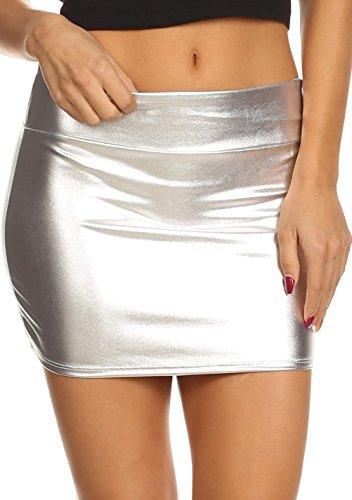 Sakkas 8255 - Zona de Kaie Brillantes de Las Mujeres líquido metálico Mirada mojada Minifalda - Plata - M