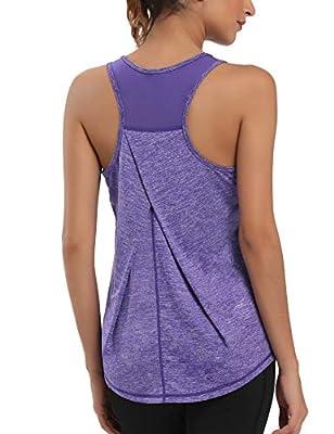 Aeuui Workout Tops for Women Mesh Racerback Tank Yoga Shirts Gym Clothes