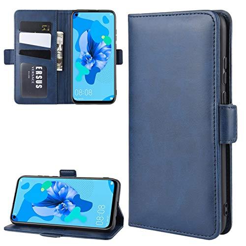 Fundas Huawei para Huawei P20 Lite 2019 / Nova 5i Doble Hebilla Caballo Loco de Negocios del teléfono móvil de la pistolera con función Soporte de la Tarjeta Monedero Fundas Huawei (Color : Blue)