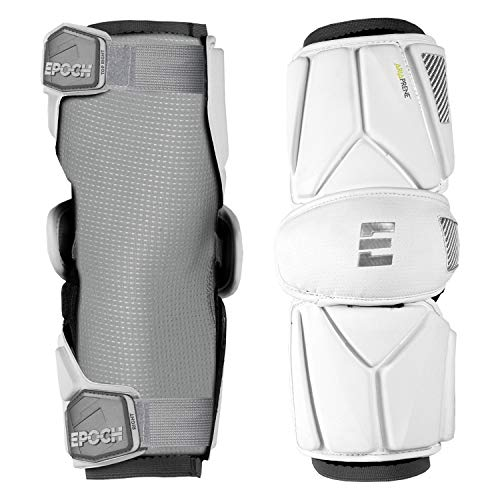 Epoch Integra Elite Lacrosse Arm Guards with 2-Step Molded Multi-Density Foam, Medium, White