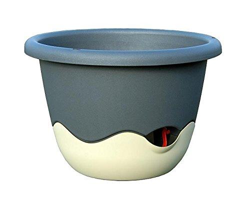 MKK Premium Pot de Fleurs Pot Fleurs d'irrigation Dessous de Plat Ø 25 mm dunkelanthrazit + Beige