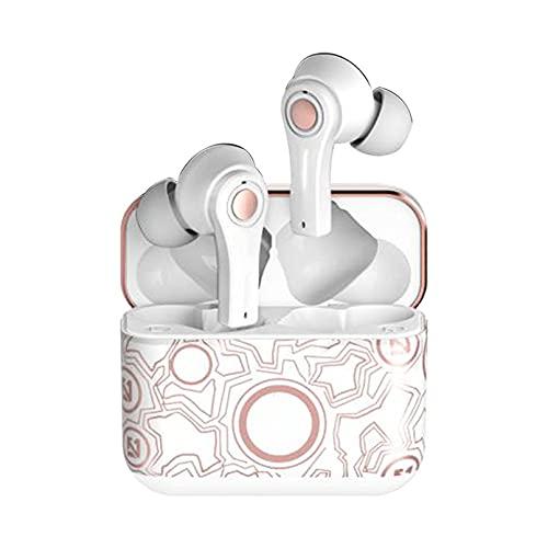 ZJ Auriculares Bluetooth 5.0 Auriculares inalámbricos Auriculares Deportivos Impermeables Control táctil TWS Mini Auriculares con cancelación de Ruido con Estuche de Carga con luz LED(Color:B)