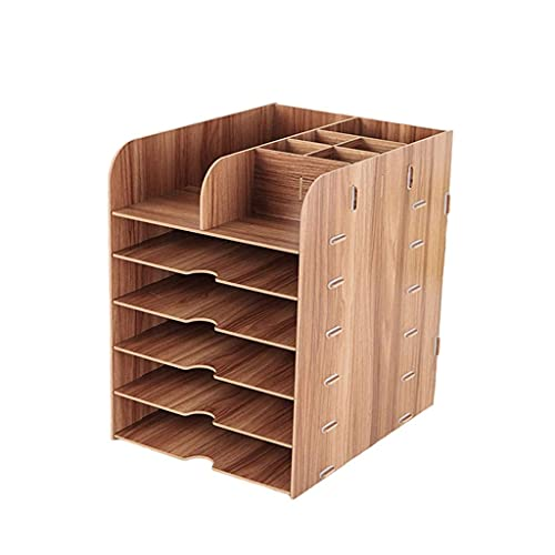 LITINGT Caja de Almacenamiento Caja de Almacenamiento de Archivos de Escritorio de Oficina Suministros de Oficina Caja de papelería de Libros de Varias Capas de Madera Estante de artículos Div