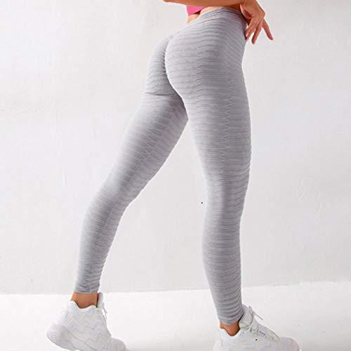 HPPLYoga Leggings Sport Dames Fitness Yogabroek Dames Gym Leggings Hoge taille Leggings Sport Femme Scrunch Butt Leggings Sportkleding, Grijze yogabroek, L