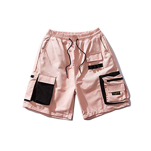 GCX- Shorts Mannen Summer Shorts Workwear Shorts Loose Casual shorts Hippe shorts shorts Vrije tijd (Color : Pink, Size : L)