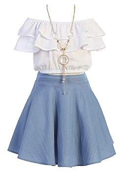 Cold Shoulder Crop Top Ruffle Layered Top Flower Girl Skirt Sets for Big Girl Denim 10 JKS 2130S