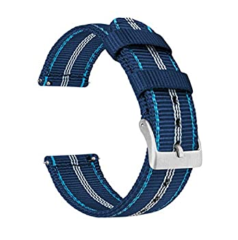 22mm Navy & Aqua Blue - Two-Piece Military Style Ballistic Nylon Watch Straps with Integrated quick release spring bars - BARTON Watch Bands- Comfortable fit - Fits wrists 5  to 8