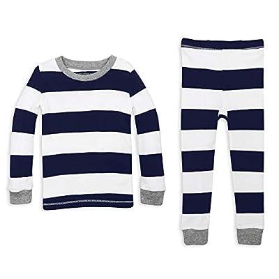 Burt's Bees Kids Boys' Toddler Pajama Tee and Pant Set, 100% Organic Cotton, Midnight Rugby Stripe, 7 Years