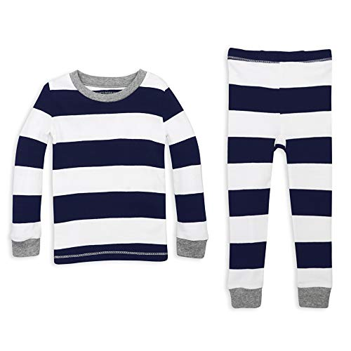 Burt's Bees Baby Unisex Baby Pajamas, 2-Piece PJ Set, 100% Organic Cotton (12 Mo-7 Yrs), Midnight Rugby Stripe, 5 Years