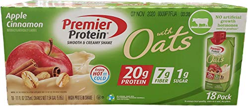 Premier Protein Apple Cinnamon With Oats Smooth & Creamy High Protein Shake 18 Pack 11 Fl Ounce  Net Wt 198 Fl Ounce