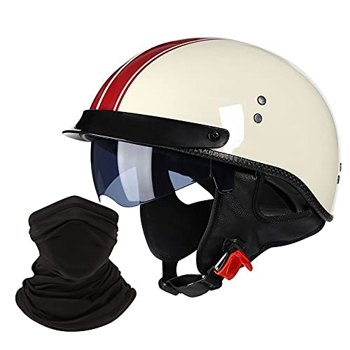 LHP Jet-Helm Motorrad-Helm Roller-Helm Scooter-Helm Open Face Half Shell Helme Halbhelm halboffener Helm für Erwachsene Herren Damen DOT/ECE Genehmigt (Color : Milky White, Size : XL/X-Large 59-60cm)