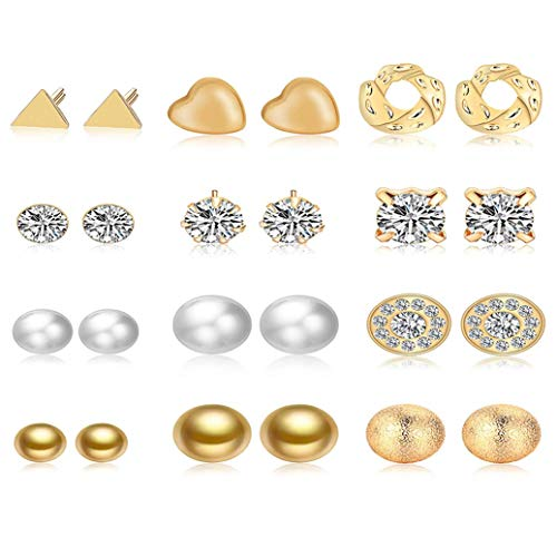 GOMYIE 12Pairs/Set Earrings Ornament Love Triangle Frosted Ball Crystal Stone Earrings For Women(Gold color)