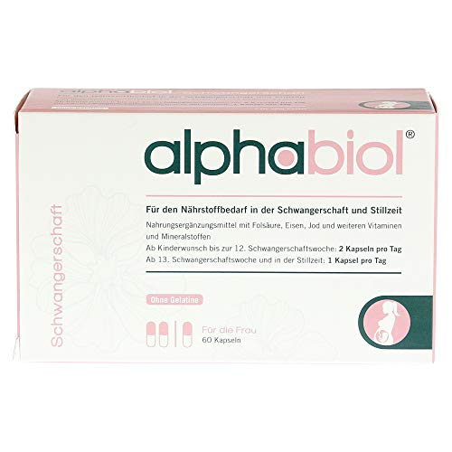 alphabiol Schwangerschaft für den Bedarf in der Schwangerschaft und Stillzeit, mit Folsäure, Vitaminen, Eisen, Jod & mehr, 60 Kapseln