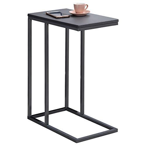 IDIMEX Beistelltisch Debora Wohnzimmertisch Couchtisch rechteckig, Metallgestell, MDF Tischplatte im Retro Stil, grau