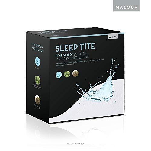 Malouf Fine Linens SL0PSK5P Sleep TITE FIVE-5IDED Hypoallergenic Mattress Protector-100% Waterproof-15 Year U.S. Warranty- Split King, Split King