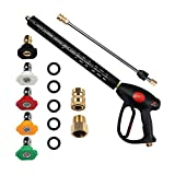 PROWESSPRO Pressure Washer Gun with Pressure Washer Wand Extension Replacement and 5 Nozzle Spray Tips, Power Washer Gun with M22 14mm and M22 15mm Fitting, 40 Inch Adjustable Length, 4000 PSI