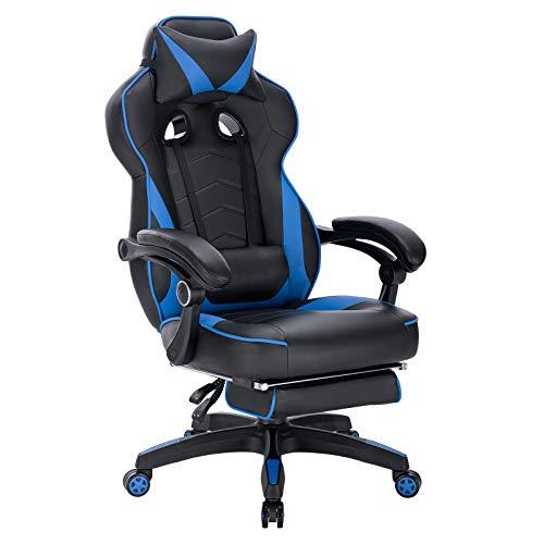 WOLTU Gaming Stuhl Racing Stuhl Bürostuhl Chefsessel Schreibtischstuhl Sportsitz mit Kopfstütze und Lendenkissen, mit Fußstütze, Kunstleder, höhenverstellbar, Blau, BS71bl