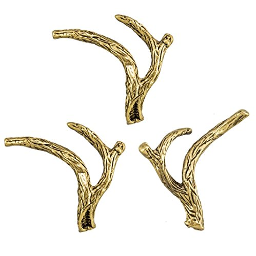 16PC Decorative Antler 1/2 Rack Push Pins Antique Gold T-633AG