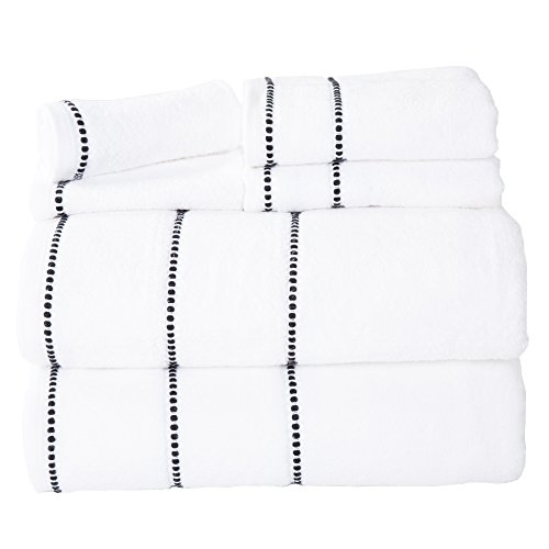 Luxury Cotton Towel Set- Quick Dry, Zero Twist and Soft 6 Piece Set With 2 Bath Towels, 2 Hand Towels and 2 Washcloths By Lavish Home (White / Black)