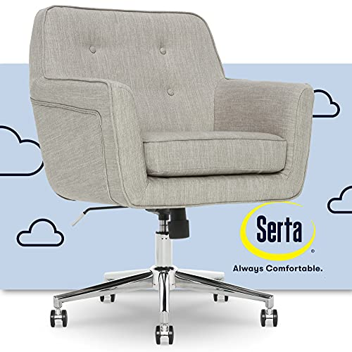 Serta Ashland Ergonomic Home Office Chair with Memory Foam Cushioning Chrome-Finished Stainless Steel Base, 360-Degree Mobility, Fabric, Light Gray