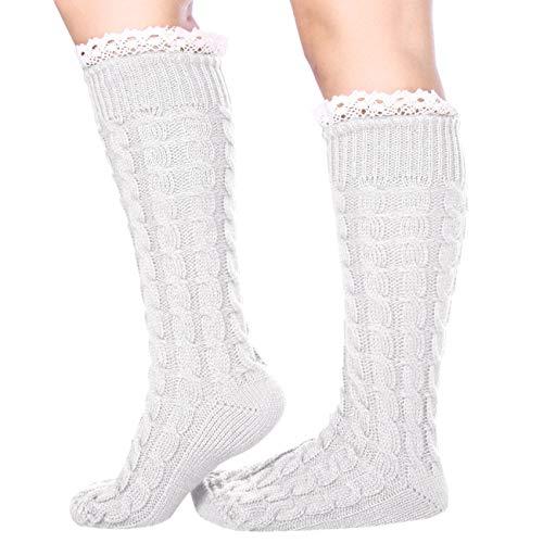 ShiyiUP Trachtenstrümpfe Frauen Kniestrümpfe Oktoberfest Damen Trachtensocke Stiefel Dirndlstrümpfe (Weiß#)