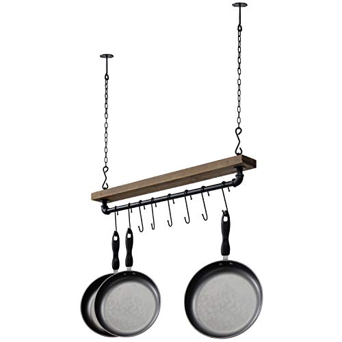 MyGift Industrial Pipe Wood Ceiling Mounted Hanging Pot Rack with 8 S-Hooks