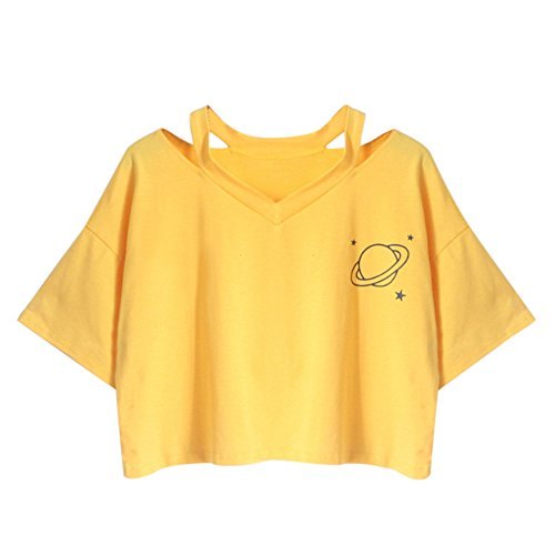 Crop Top Damen Sommer, Ulanda Teenager Mädchen Ananas Stickerei Bauchfrei Bluse Sport V-Ausschnitt Tops Shirt Hemd Frauen Kurzarm Lässiges T Shirt Oberteil Pullover Sale (Gelb, S)