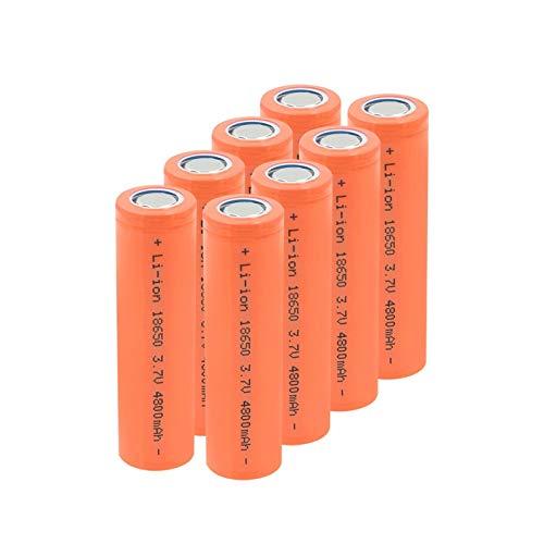 RitzyRose Batería de litio de 3,7 V, 4800 mAh, 18650, baterías recargables para linterna 8 unidades