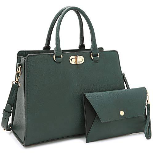 Dasein Women Handbags Fashion Satchel Purses Top Handle Tote Work Bags Shoulder Bags with Matching Clutch 2pcs Set (Peppled dark green)