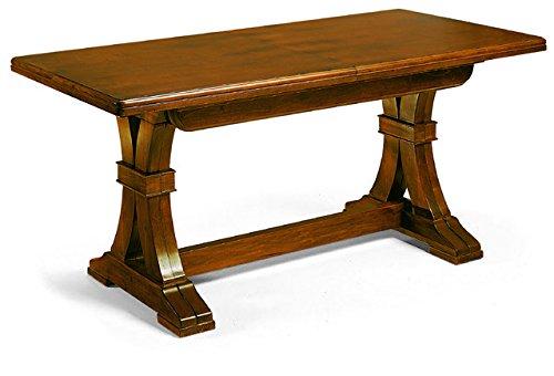 Table Extensible comportant 4 rallonges de 45 cm, Style Classique, en Bois Massif et MDF avec Finition Noyer Brillant - Dim. 180 x 85 x 78