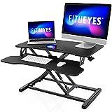 FITUEYES Standing Desk Converter Mediano 32''/80cm Color Negro Convertidor de Escritorio de pie con Bandeja de Teclado Altura Ajustable SD308001WB
