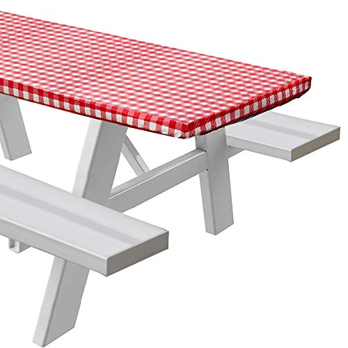 Sorefy Vinyl Fitted Picnic Table Cover, Checkered Design, Flannel Backed Lining, 30' x 72' Red