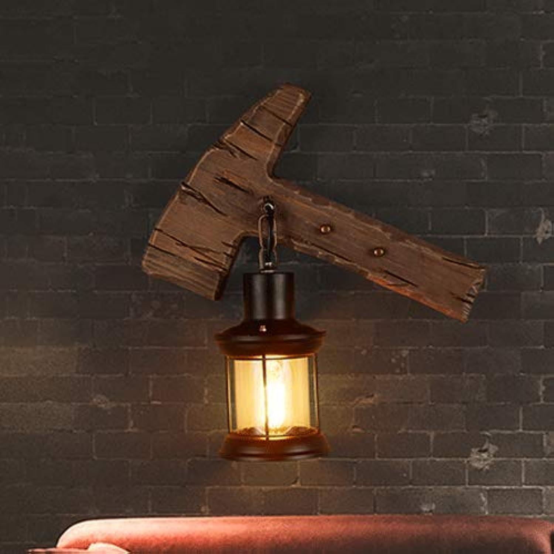 40% de descuento Wapipey Creativa Hacha de Madera Soporte de la la la lámpara Lámpara de Parojo de Cristal de Metal Retro Industrial Restaurante Bar Linterna de la Parojo Sala de Estar Dormitorio Lámpara de cabecera American  connotación de lujo discreta