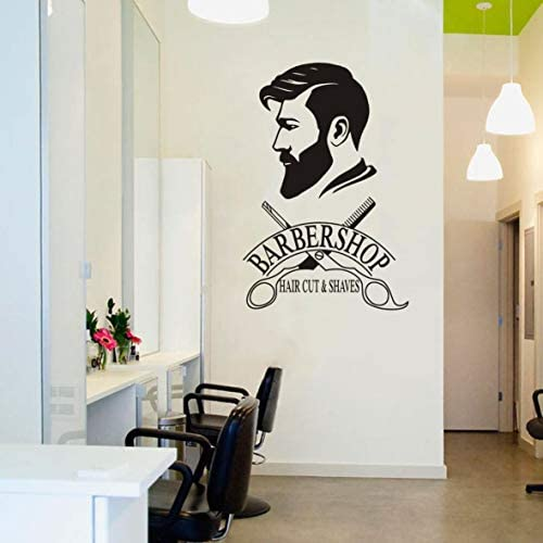 Barber Shop Removable Wall Decal Art Man Barbershop Wall Decor Stiker Window Decoration Sticker product image