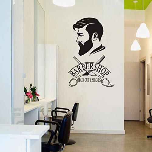 Barber Shop Removable Wall Decal Art Man Barbershop Wall Decor Stiker Window Decoration Sticker Poster Ay1121 42x64cm Buy Online In Colombia At Desertcart Co Productid 129637393