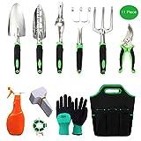 TOORGGOO Garden Tool Set, 11 Piece Aluminum Hand Tool Kit, Gardening Tools with Storage Pocket, Outdoor Tool, Heavy Duty Gardening Work Set with Ergonomic Handle, Gardening Gifts for Women Men.