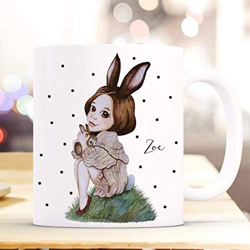 N\A Taza de café Taza Taza Conejita Conejita con Nombre de Deseo Taza Infantil Taza para Beber Taza de cerámica de fantasía Personalizada