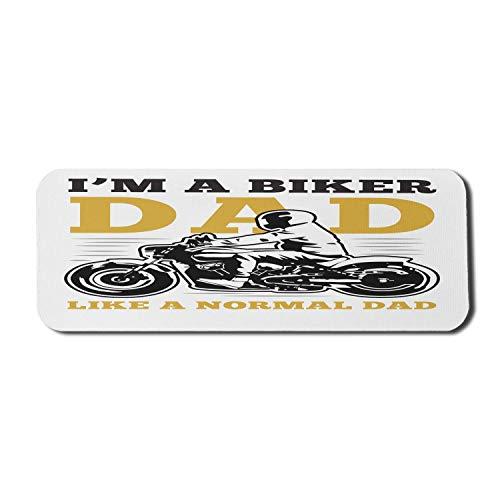 Biker Computer Mouse Pad, Biker Dad Wörter mit Mann auf schnellem Motorrad Vintage Bild, Rechteck rutschfeste Gummi Mousepad groß gelb grau