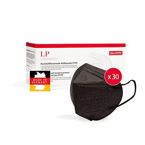 ProPulsan Lindenpartner FFP2 Maske Schwarz 30 Stück, Made in Germany, CE Zertifizierte, Hygienische Atemschutzmaske
